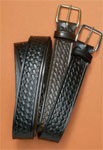 1.5 black basketweave belt w/ silver H buckle
